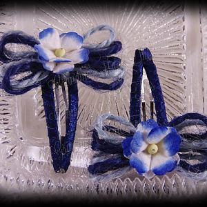 Jute Bow Flower Snap Clippie Pair Blues 2