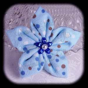 Kanzashi Flannel Star Hair Bow 8