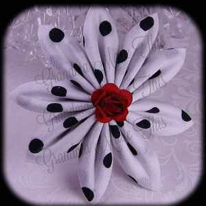 Kanzashi Flower Petals Down Hair Bow 12