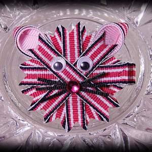 Kitty Ribbon Sculpture Hot Pink Trax Stripes