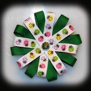 Ladybugs Green Loopy Flower Hair Bow