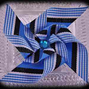 Large Stacked Pinwheel Hair Clips Blues