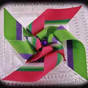 Large Stacked Pinwheel Hair Clips Pinks Greens