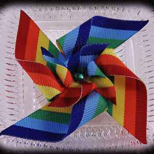 Large Stacked Pinwheel Hair Clips Rainbow
