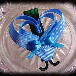Light Blue White Polka Dot Lovebug Heart Ribbon Sculpture Hairclip