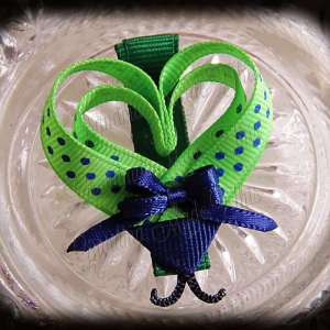 Lime Blue Polka Dot Lovebug Heart Ribbon Sculpture Hairclip