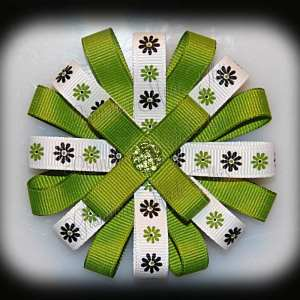 Lime Green Daisies Loopy Flower Hair Bow