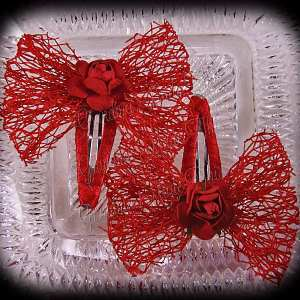 Mesh Ribbon Flower Snap Clippies Red Red Rose