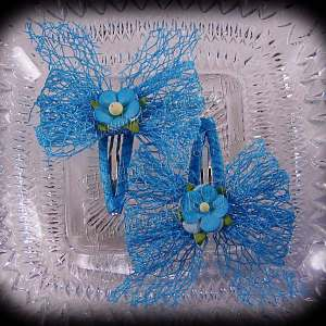 Mesh Ribbon Flower Snap Clippies Turquoise