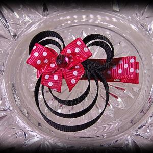 Minnie Mouse Ribbon Sculpture Hot Pink White Polka Dots