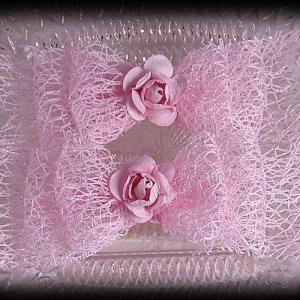 Netting Ribbon Tuxedo Hair Bows Pinks