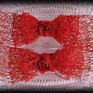 Netting Ribbon Tuxedo Hair Bows Reds