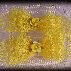 Netting Ribbon Tuxedo Hair Bows Yellows