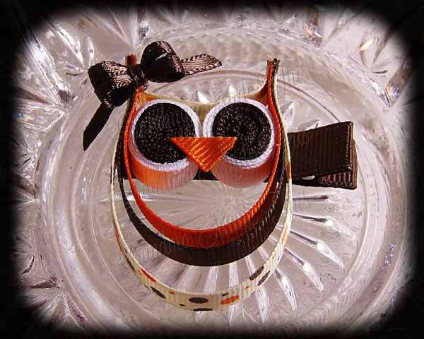 Orange Brown Polka Dots Brown Bow Ribbon Sculpture Owl