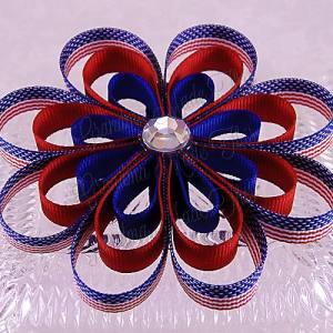 Patriotic Flags Ribbon Sculpture Flower Bow