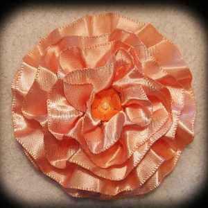 Peach Satin Frilly Flower Hair Bows