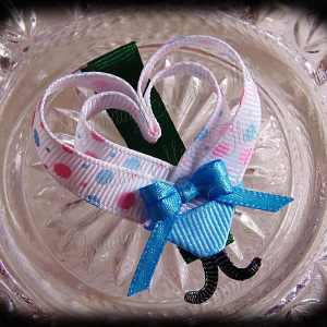 Pink Blue Polka Dot Lovebug Heart Ribbon Sculpture Hairclip