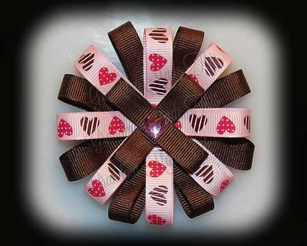 Pink Brown Hearts Loopy Flower Bow