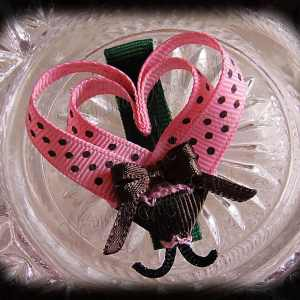 Pink Brown Polka Dot Lovebug Heart Ribbon Sculpture Hairclip