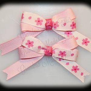 Petite Quad Barrette Hairbow Set Pink Flowers