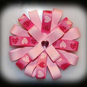 Pink Hearts Loopy Flower Bow