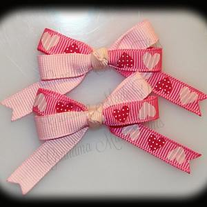 Petite Quad Barrette Hairbow Set Pink Hearts