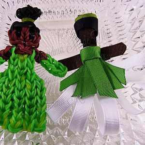 Princess Tiana Ribbon Sculpture Hairclip Loom Doll Dress Two Set