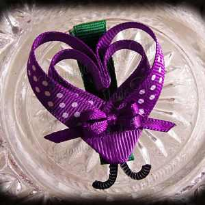 Purple White Polka Dot Lovebug Heart Ribbon Sculpture Hairclip