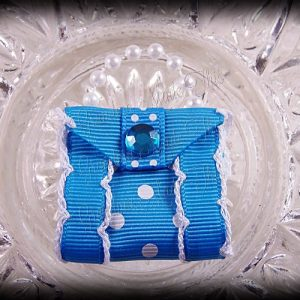 Purse Ribbon Sculpture Side Ribbon Turquoise White Polka Dots