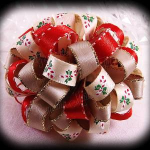 Red Beige Candy Canes Loopy Puff Ball Hair Bow