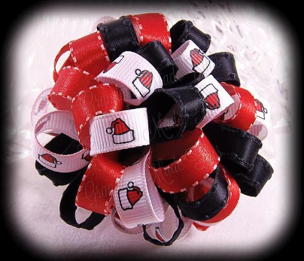 Red Black Santa Hats Loopy Puff Ball Hair Bow