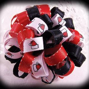 Red Black Santa Hats Loopy Puff Ball Hair Bow