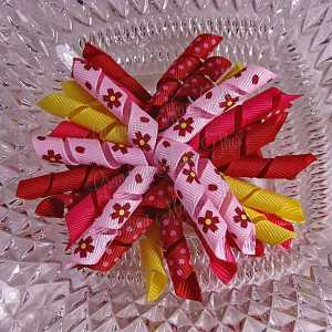 Red Pink Yellow Floral 1 Korker Ribbon Bow