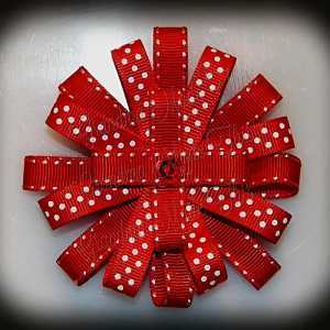 Red Side Stitch Polka Dot Loopy Flower Hair Bow