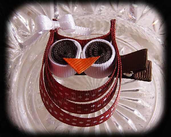 Sienna Brown White Polka Dot White Bow Ribbon Sculpture Owl