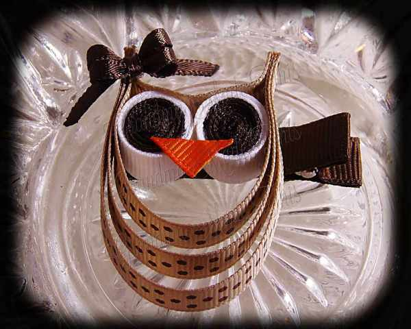 Tan Brown Polka Dot Brown Bow Ribbon Sculpture Owl