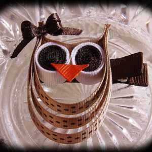 Tan Brown Polka Dot Brown Bow Ribbon Sculpture Owl