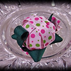 Turtle Ribbon Sculpture Pink Green Polka Dots