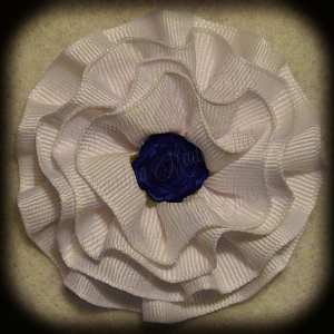 White Frilly Flower Hair Bows