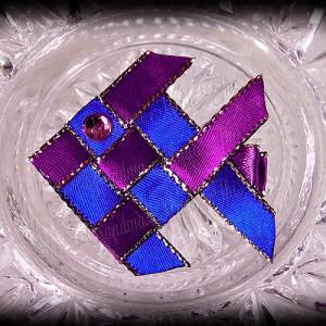 Woven Fish Ribbon Sculpture Blue Purple Satin Glitter 2
