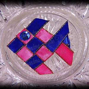 Woven Fish Ribbon Sculpture Hot Pink Blue Satin Glitter 2