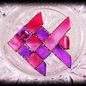 Woven Fish Ribbon Sculpture Hot Pink Purple Satin Glitter 1