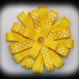 Yellow Polka Dots Loopy Flower Bow