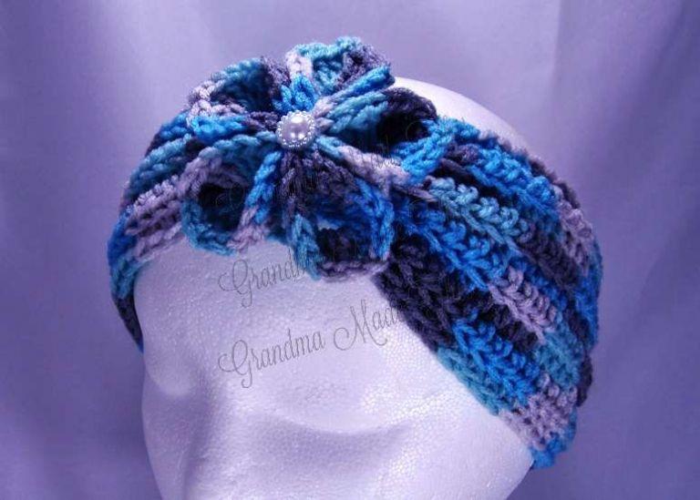 Blue Tones Flower Earwarmer Headband