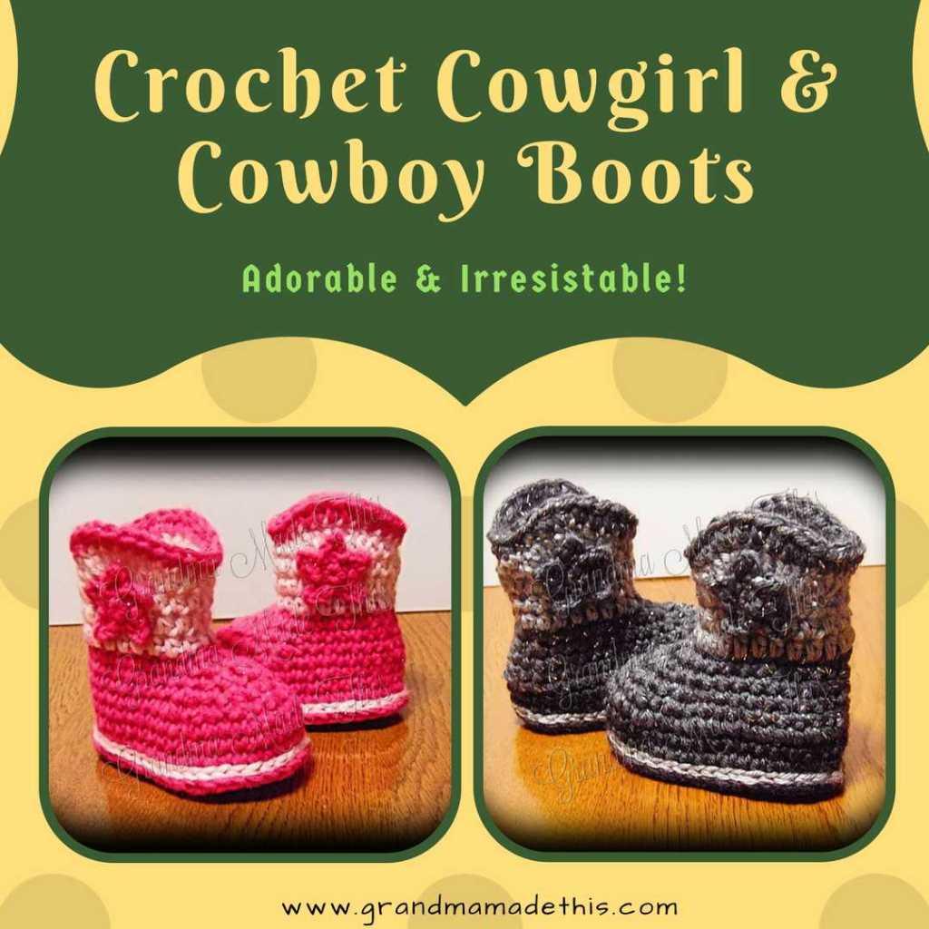 Crochet Cowboy Cowgirl Boots