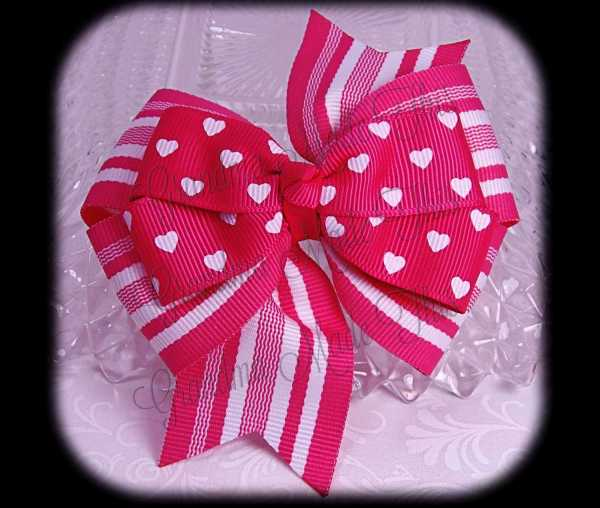 Petite Hearts on Pink Stripes Stacked Quad Pinwheel Hair Bow