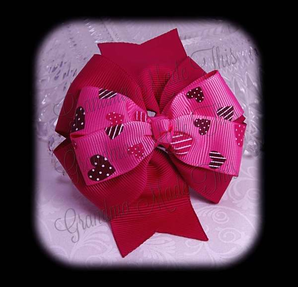 Pink Brown Hearts on Hot Pink Stacked Quad Pinwheel Hair Bow