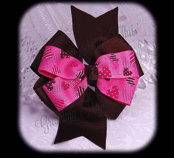 Pink Brown Hearts on Pink Brown Stacked Quad Pinwheel Hair Bow