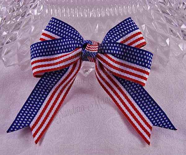 Patriotic Flag Long Tail Quad Hairbow