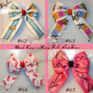 Sayings Long Tail Quad Hair Bows